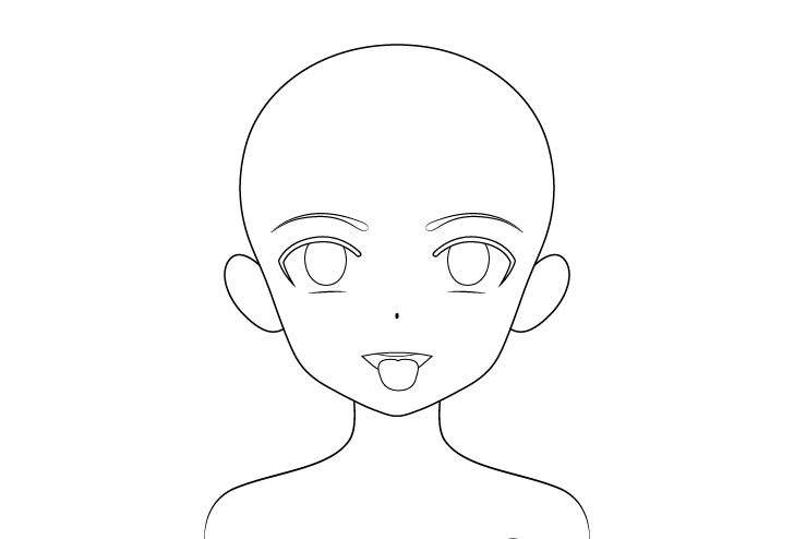 Gadis anime mulut terbuka lidah keluar gambar garis