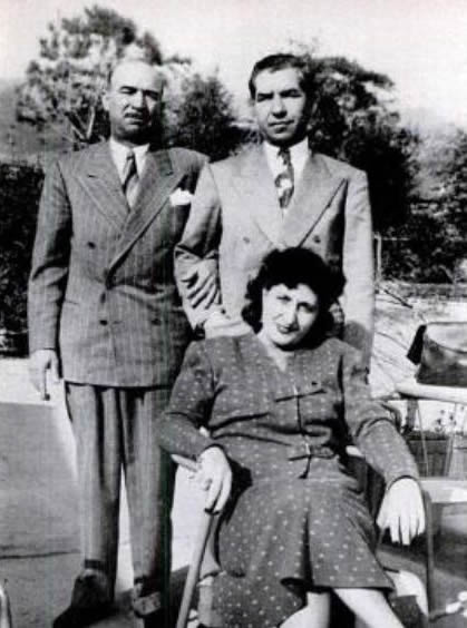 Frank Scalise with Lucky Luciano in Italy