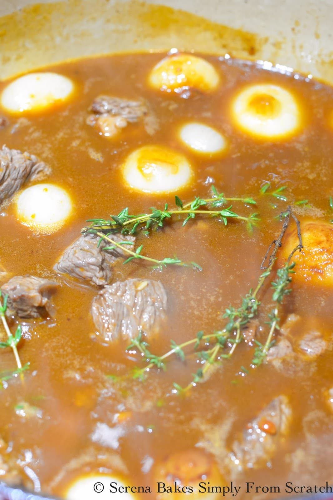 Browned beef, worcestershire sauce, bay leaves, and thyme added to Guiness Beef Stew Gravy.