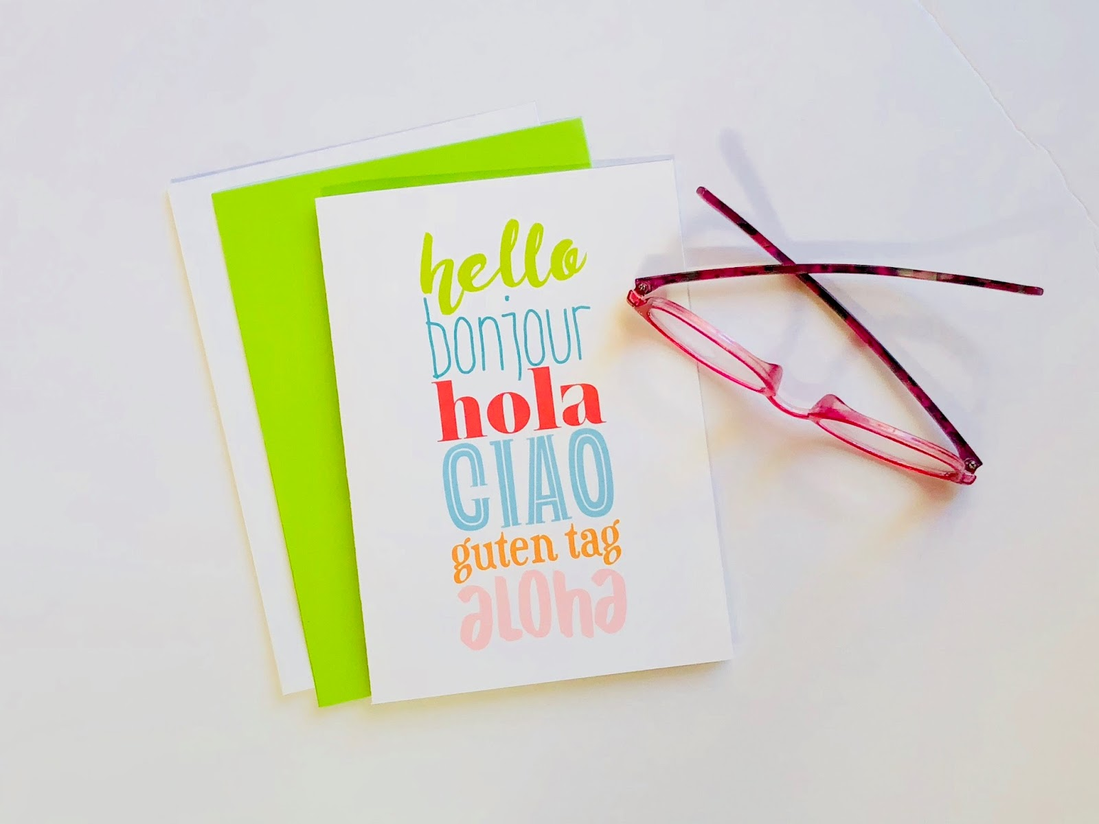 #notecard #Greeting Card #Hello #Mulitlingual #Hola #Ciao #Aloha