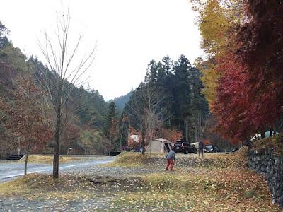 ウッドルーフ奥秩父で秋の紅葉の中遊ぶ兄弟