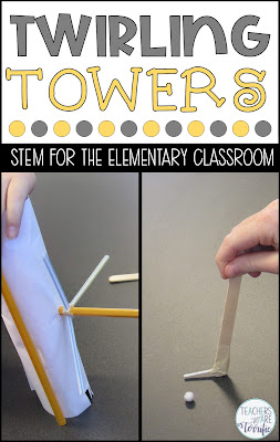 This Twirling Tower STEM Challenge had as one of the main requirements that it must have a  twirling part with a purpose. Elementary STEM