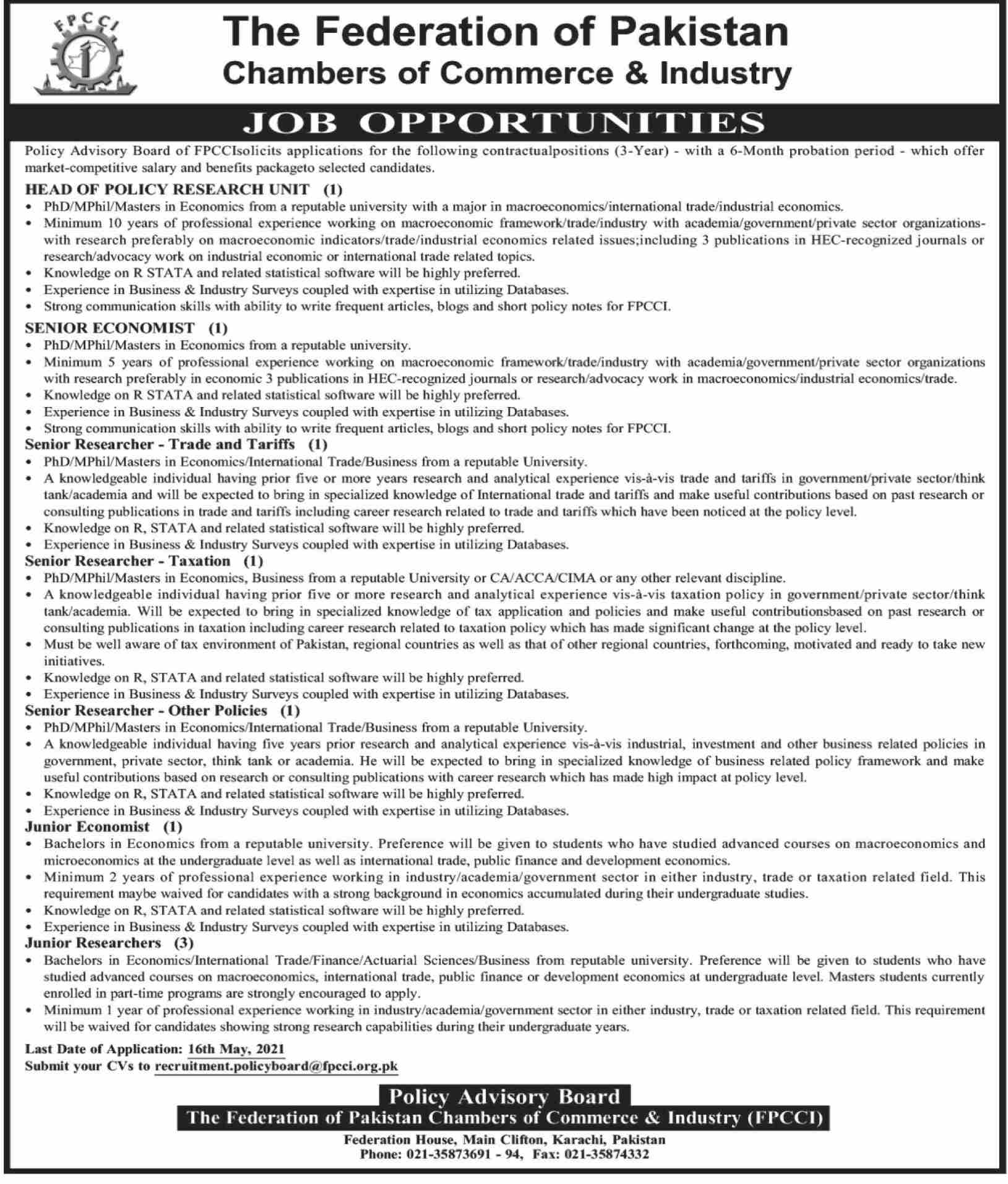 recruitment.policyboard@fpcci.org.pk - Federation of Pakistan Chambers of Commerce & Industry (FPCCI) Jobs 2021 in Pakistan