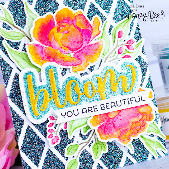 Peony Blooms Card ft. The Bee's Knees Embossing Powder Trio | Honey Bee Stamps by ilovedoingallthingscrafty.com