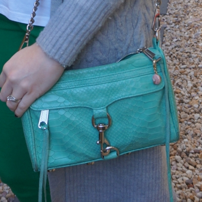 Rebecca Minkoff mini MAC in aquamarine with python embossed leather with green skinny jeans | awayfromtheblue