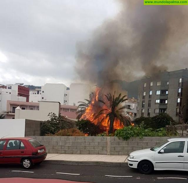 Un espectacular incendio fue sofocado ayer en un solar de Los Llanos de Aridane