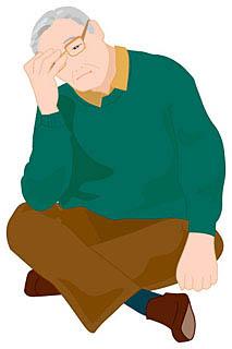 体調不調の老人のイラスト