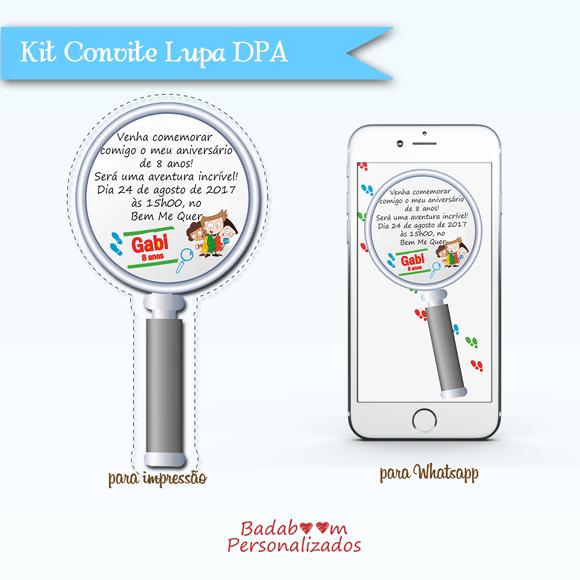 Kit de artes digitais para convite Lupa DPA - Detetives do Prédio Azul