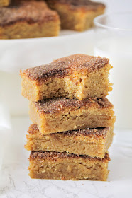 These soft and chewy snickerdoodle blondies have the best cinnamon sugar flavor, and are so easy to make!