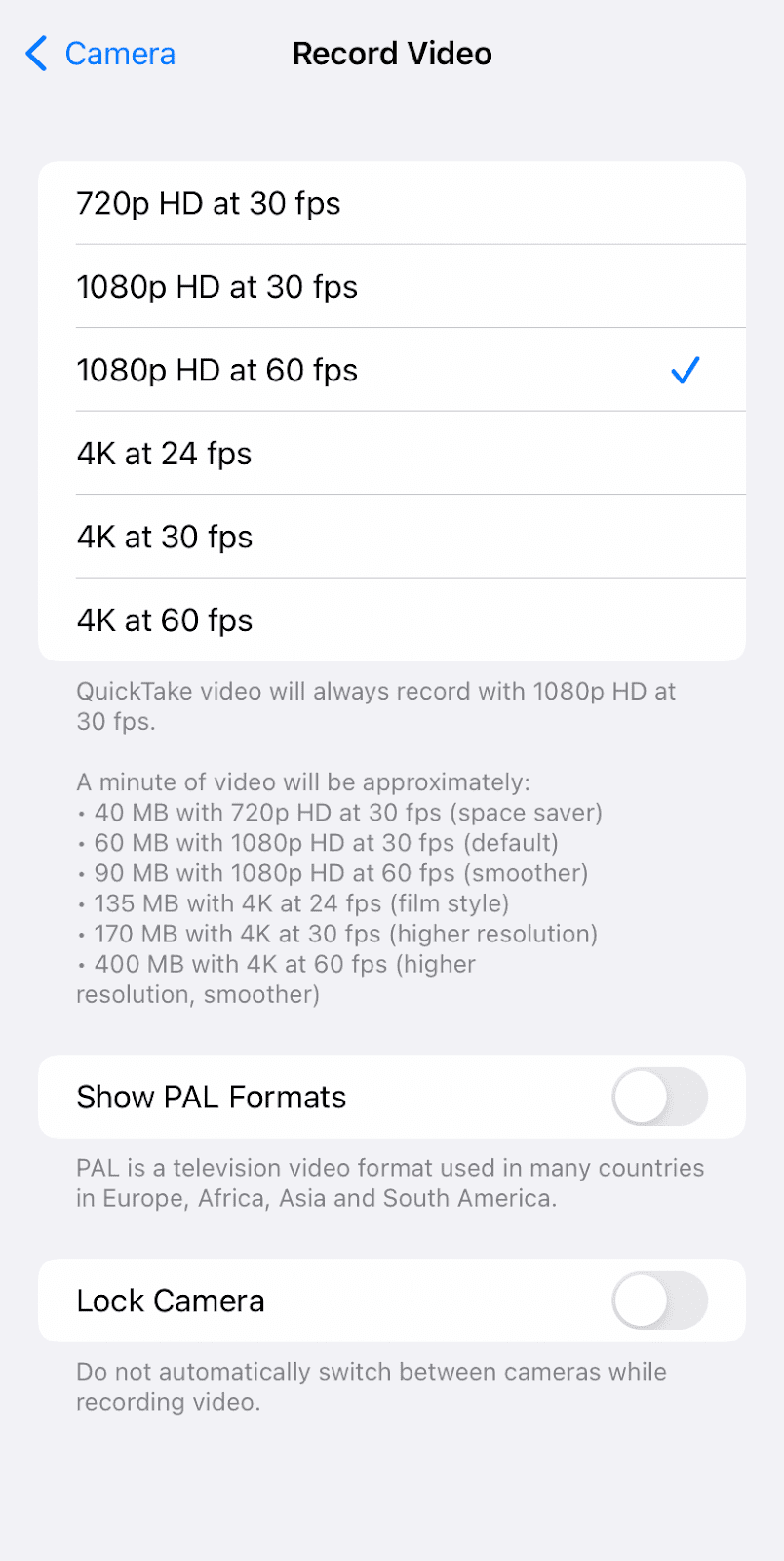 Record videos with lower resolution