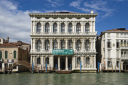 The elegant Ca' Rezzonico on the Grand Canal in Venice, which Browning's son, Pen, owned