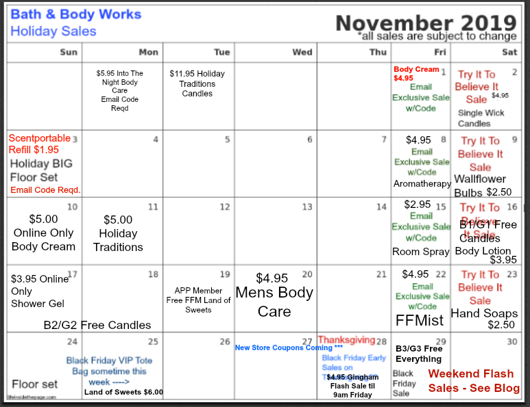 Life Inside The Page Bath Body Works November And December Calendar Updates
