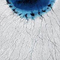 Melting of Greenland ice sheet forms lakes that drain in summer. (Credit: Timo Lieber) Click to Enlarge.