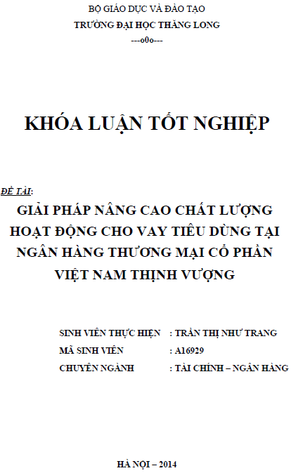 Giải pháp nâng cao chất lượng hoạt động cho vay tiêu dùng tại Ngân hàng Thương mại Cổ phần Việt Nam Thịnh Vượng