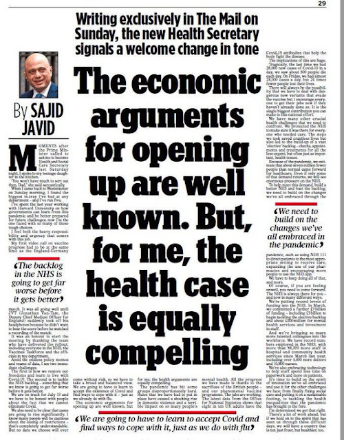 040721 Sajid Javid in the Mail on Sunday