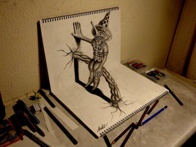 Amazing Nagai Hideyuki 3D Illusion Sketch Art Scarecrow