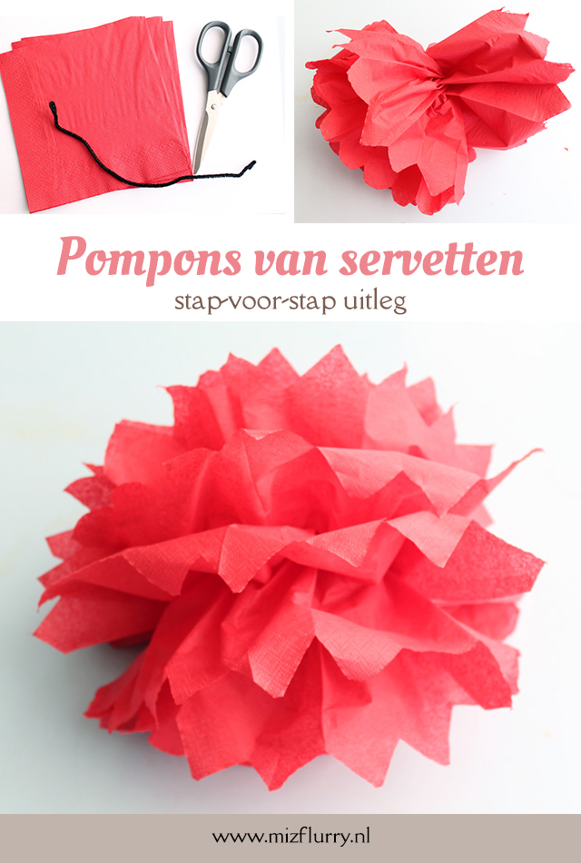 pompons servetten tutorial pinterest