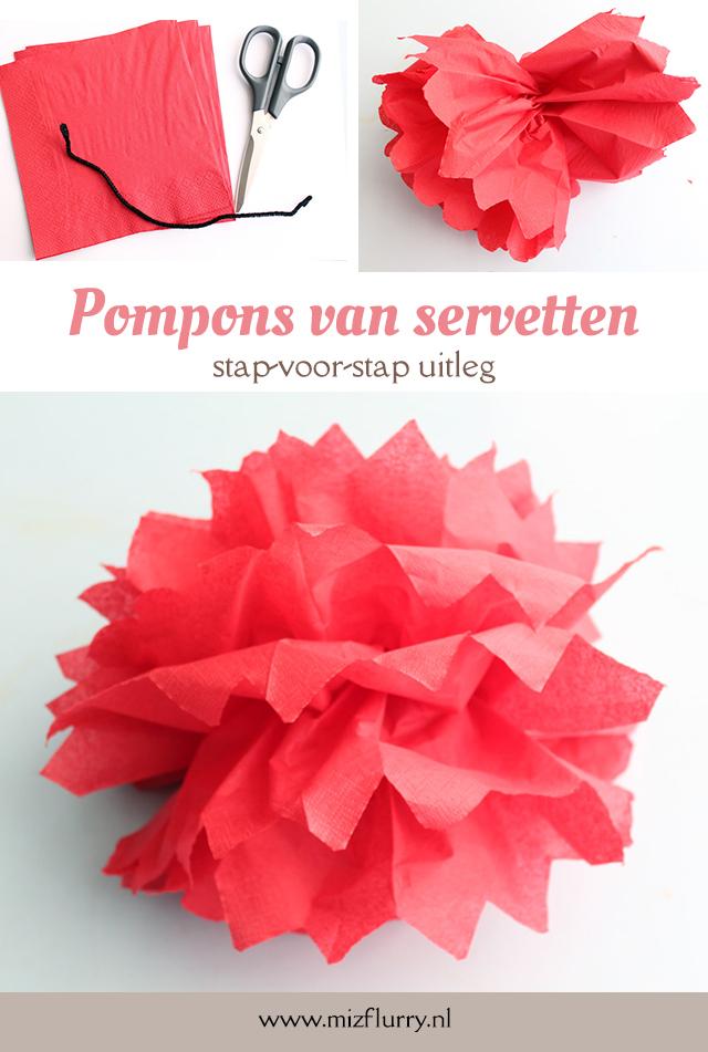 pompons servetten tutorial pinterest