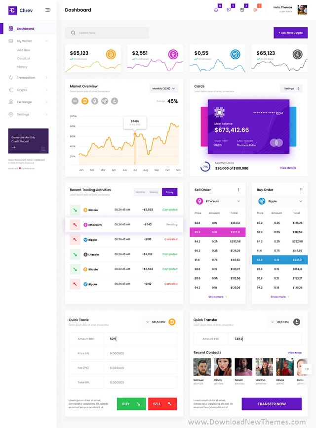 Crypto Admin Dashboard UI PSD Template