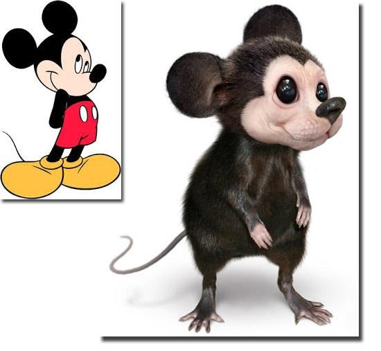 Personagens de desenhos como se fossem de carne e osso - Mickey Mouse