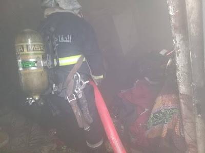 الدفاع المدني تنقذ 5 وتخلي 20 نزيلا وتخمد حريقا اندلع داخل فندق وسط كربلاء