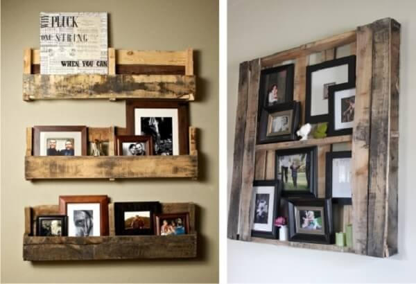 Pallets as a support for the photo frame