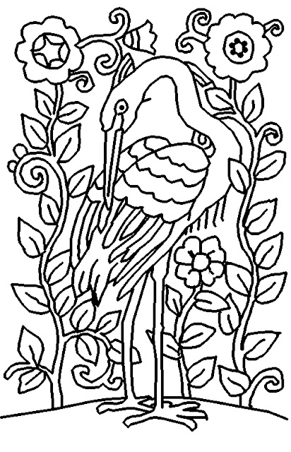 coloring pages com | Coloring Page World: Heron (Portrait)