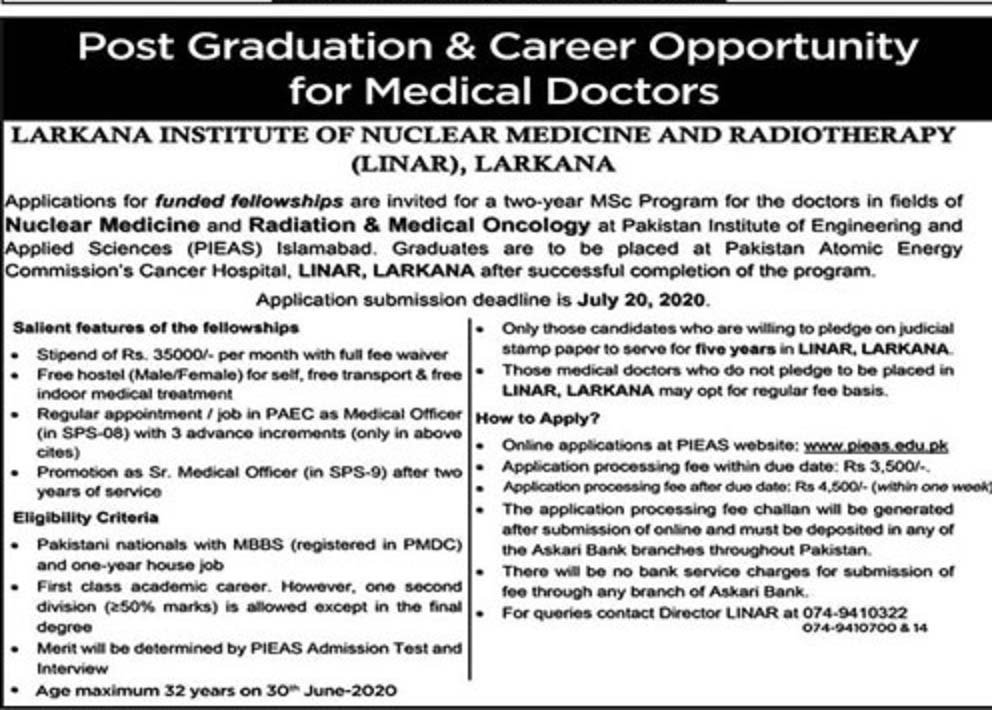 Jobs in Larkana Institute of Nuclear Medicine for Medical Doctors