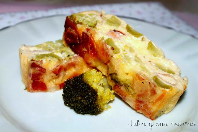 Pastel de brócoli y bacon. Julia y sus recetas