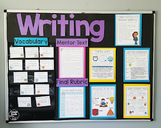 A great place to display your personal narrative posters, rubric, questions