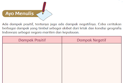 dampak postif dan negatif akibat dari letak dan kondisi geografis Indonesia sebagai negara maritim dan kepulauan, [Jawaban Soal Buku siswa kelas 5 tema 1 halaman 146]