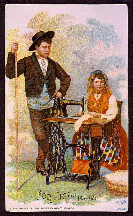 Singer sewing machines ad card 1892 - Portugal