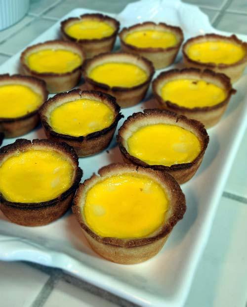 Mini egg custard tarts, Hong Kong style.
