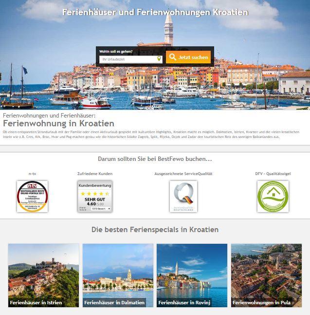 Mit BestFewo in den Sommerurlaub. Ferienwohnung finden Kroatien Suche