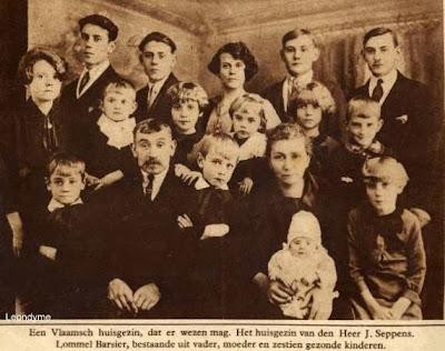Familie J. Seppens-Barsier uit Lommel Barrier, bestond uit 16 kinderen.