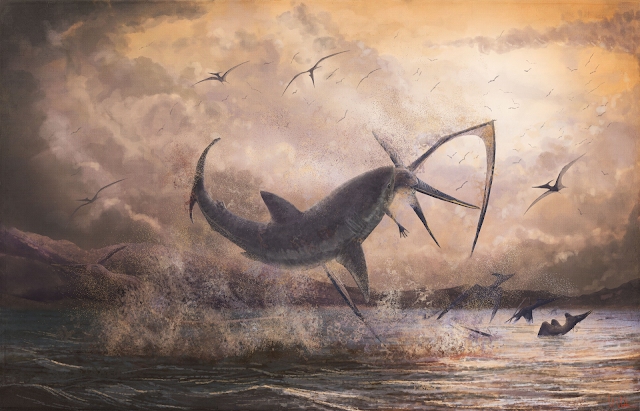 Cretoxyrhina breaches (jumps out of the water) to attack Pteranodon