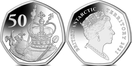 British Antarctic Territory 50 pence 2021 - The Queen's 95th Birthday - Crown Jewels