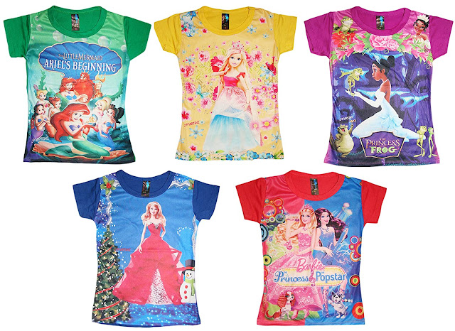 Buy KIFAYATI BAZAR Girl's Poly Cotton 3D Print Top Beach Wear T-Shirts - Pack of 5 At Amazon.in