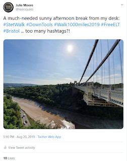A Tweet showing a photo taken from Cifton Suspension Bridge and a tweet with the hastag #stetwalk