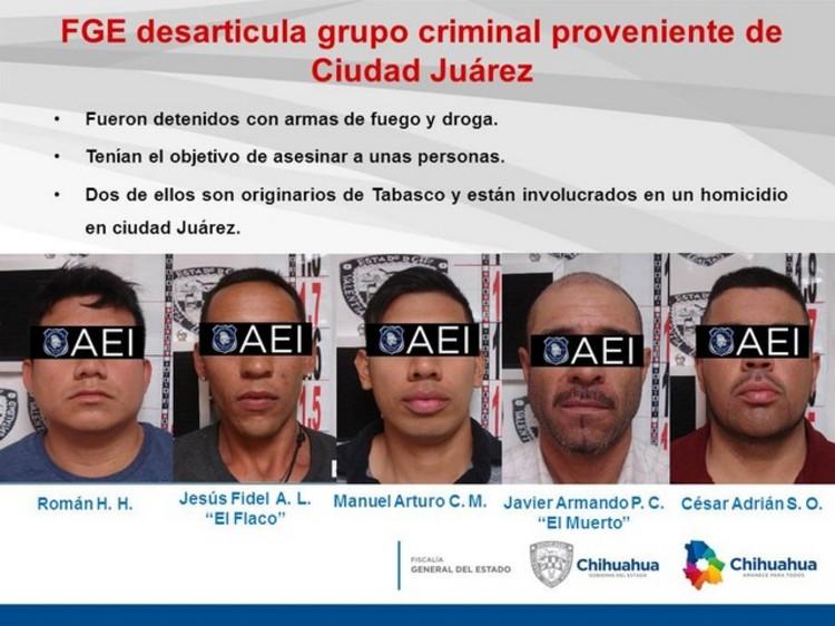 Capturan a Cinco sicarios que llegaron con la misión de ejecutar a varias personas en Chiahuahua
