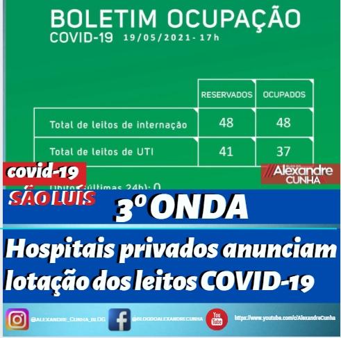 São Luís:  Hospitais privados anunciam lotação dos leitos COVID-19.
