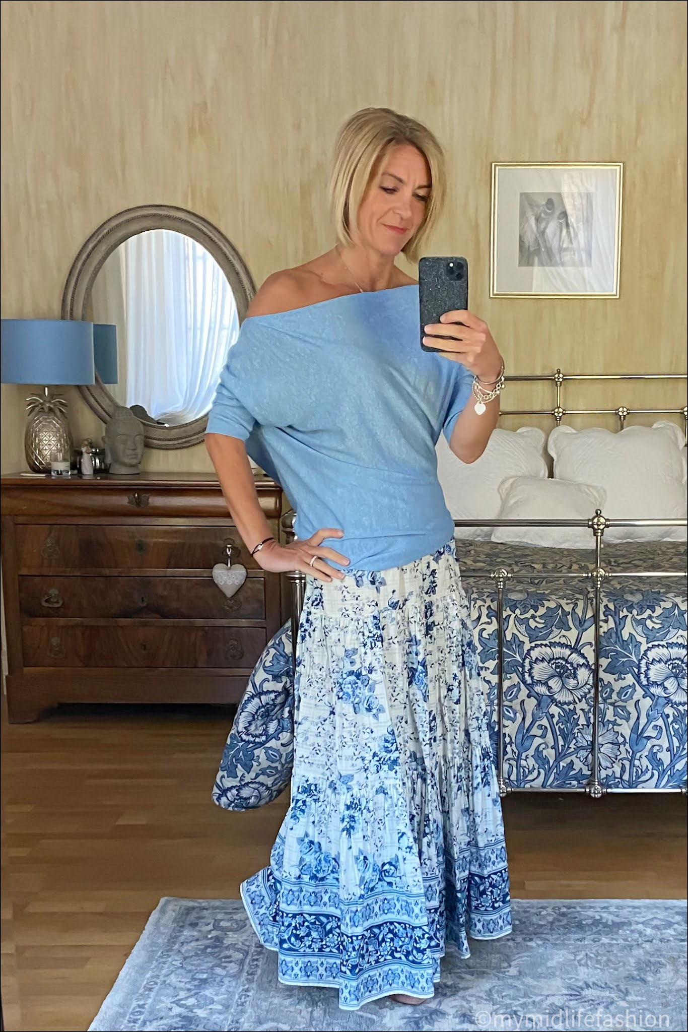 my midlife fashion, Reiss off the shoulder jumper, zara floral maxi skirt, h and m nude cut out ballet flats