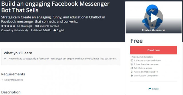 [100% Free] Build an engaging Facebook Messenger Bot That Sells