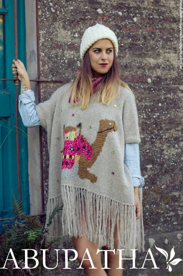 Sweaters y ponchos tejidos invierno 2016 Abupatha.