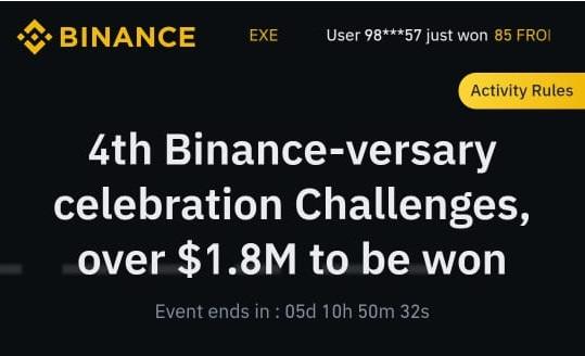 Bonus Crypto Tanpa Deposit Binance (Celebration Challenges)