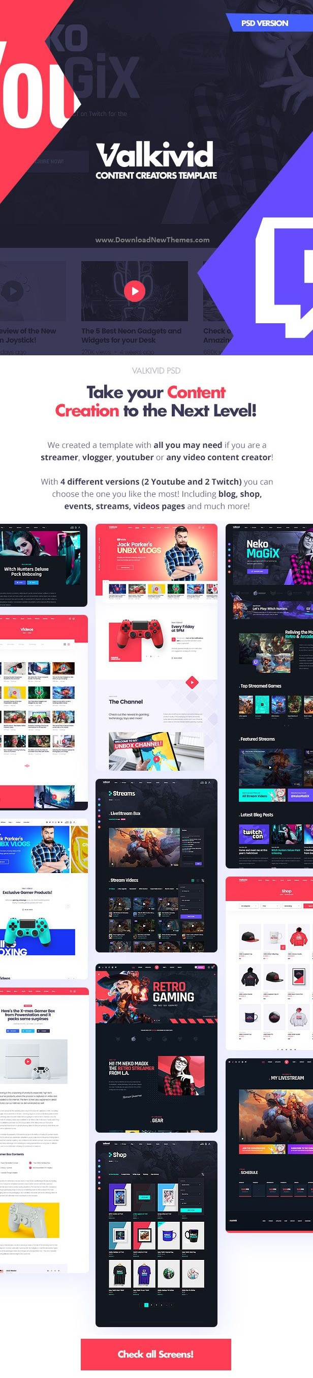 Streamer and Youtuber PSD Template