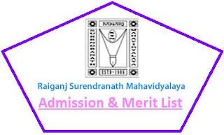 Raiganj Surendranath College Merit List