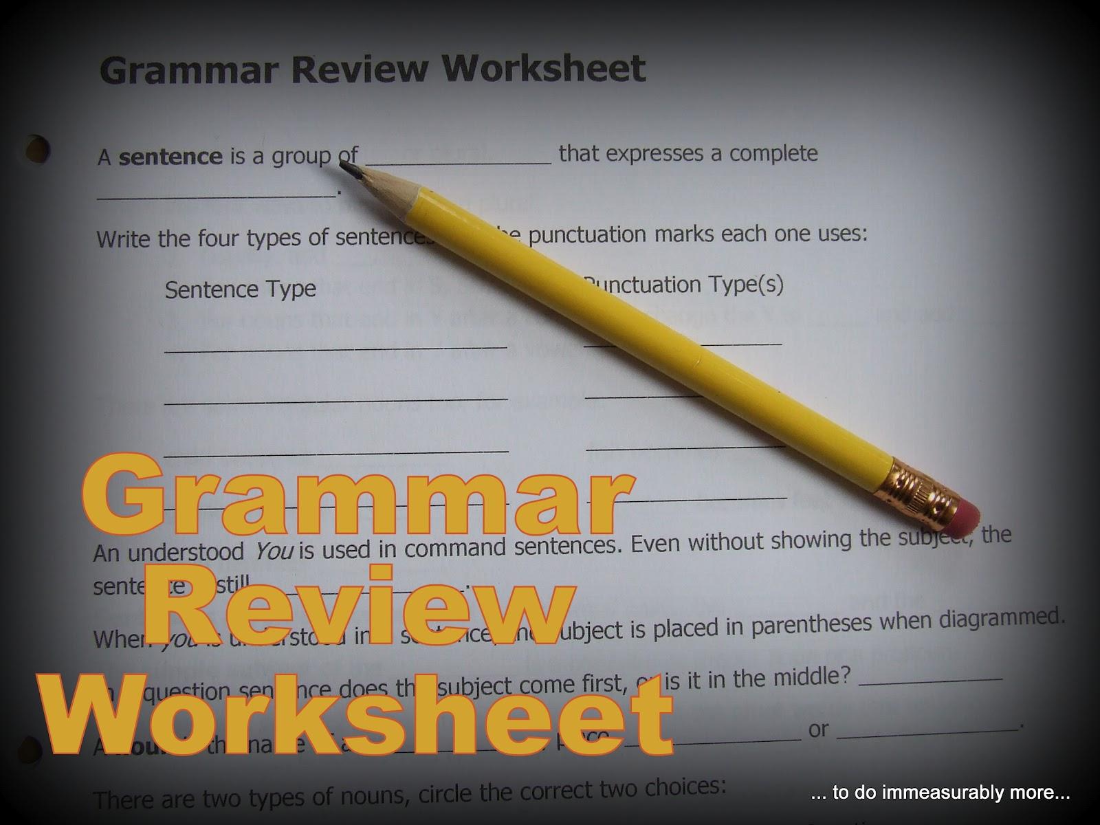Do Measurably More Grammar Review Worksheet Printable