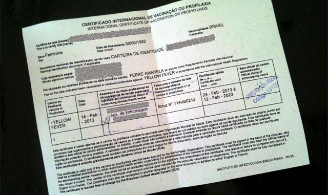 Certificado de Vacinação para Roma e a Itália