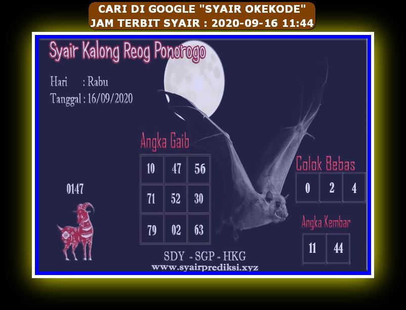 Kode syair Hongkong Rabu 16 September 2020 286
